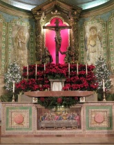 Crucifix and Altar at Christmas